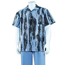 Men's 2pc Walking Suit Short Sleeve Casual Shirt w/ Pants Set #2965