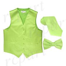 New Men's lime green formal vest Tuxedo Waistcoat_necktie & bowtie set wedding