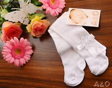 Baby Strumpfhose 48 50 56 62 68 74 80 86  Weiß Rosa Taufe Schleife Frühchen