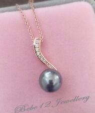 Simulated Diamond/Dark Grey Pearl Pendant Necklace/N553