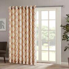 "Beige & Spice Red Fretwork Pattern Patio Door Window Curtain Panel - 100x84"""