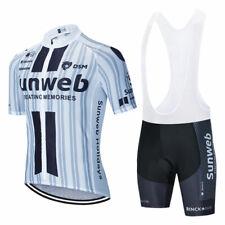Mens White Gray Cycling Jersey Bib Shorts Kits Short Sleeve Shirt Pad Shorts Set