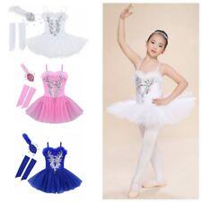 Girls Gymnastics Ballet Dress Kids Leotard Tutu Skirt Dance Swan Lake Costume