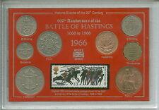 Bataille de Hasting roi Harold & Guillaume le Conquérant coin cachet set 1066-1966