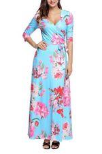 Light Blue Pink Floral Wrap Maxi Dress