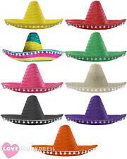 Mexicana Sombrero Gorro Pompones Wild Western Bandit Fancy Dress Costume Accesorio