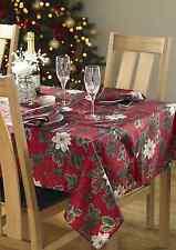 Poinsettia Christmas Tablecloths,Red & Cream, napkins& tablerunner avaliable