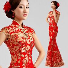 Women Chinese Classic Cheongsam Evening Party Prom Wedding Bride Dress Ball Gown