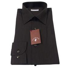 RODRIGO camisa de hombre marrón oscuro estriado 100% algodón regular fit