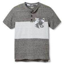 Mossimo Boys' Ebony Gray Stripe Front Pocket Short-Sleeve T-Shirt - Size M L