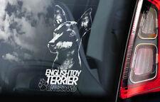 English Toy Terrier on Board - Car Window Sticker - Black Tan Dog Sign Decal -V1