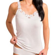 HERMKO 15104960 Damen Unterhemd mit großer Spitze aus Baumwolle Achselhemd Top