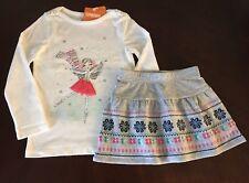 NWT Gymboree Girl Enchanted Winter Ice Skating Tee & Grey Skirt Outfit 4 5 6 7
