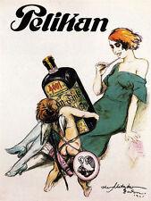 Pelikan Ink Pen 1921 Angel Lady Office Art Vintage Poster Repro FREE SH