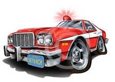 Starsky & Hutch 76 Gran Torino Muscle Car Cartoon T-Shirt - automotive art