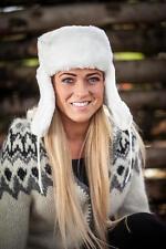 Russian ushanka winter hat. White Faux fur. Trapper Bomber Ear Flap Padded Warm!