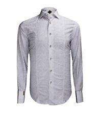 Billionaire Couture Men's Light Grey Patterned Cotton Dress Shirt Paris