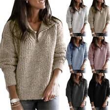 Womens Knitted Fleece Long Sleeve Sweater Pullover Jumper Tops Winter Sweatshirt