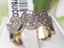 1875 completa la eternidad allanar conjunto anillo de diamantes simulados Banda de acero inoxidable de oro
