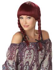 Dutch Bohemian Braids Adult Costume Wig - Burgundy