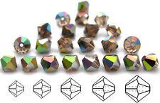 Czech MC Glass Bicone Beads (Rondell/Diamond) Light Peach Vitrail coated,pink VM