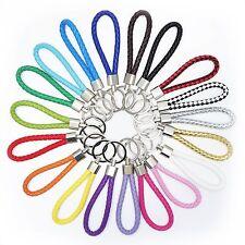 Fashion Colorful Leather Strap Braided Keyring Keychain Key Chain Ring Key Fob