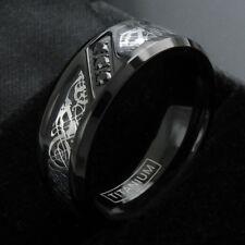 Black Titanium Men's Celtic Dragon 0.09 Carat CZ Wedding Band Ring Size 9-13