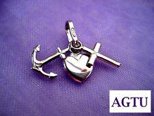 Sterling Silver 925 Faith Hope Charity Cross Love Heart Anchor Pendant Gift AGTU