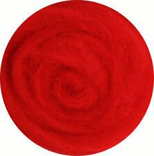 Carded Roving Wool Felting Spinning Craft Hand Needle Felt - Red Carmine