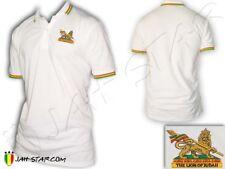 Polo Shirt Reggae Rasta Roots Rastafari Conquering Lion Of Judah Gold Brodé