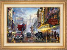 Thomas Kinkade Batman, Superman, Wonder Woman 24 x 36 LE G/P Canvas (Framed) DC