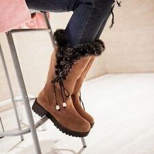 Winter Women Fur Lined Boots Flats Mid-Calf Plush Platform Warm Shoes Snow Boot