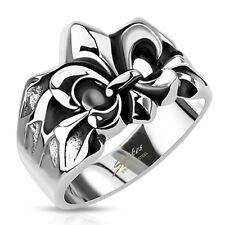 316L Stainless Steel Men's Fleur De Lis Symbol Cast Ring