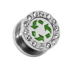 Set ou Pièce oreille Flesh Tunnel Plug Piercing Logo Symbole Strass Rhinestone