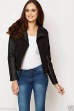 Biker Style Kontrast Gesteppt Langärmeliges Taille Schwarz Jacke Größe S-XL 818