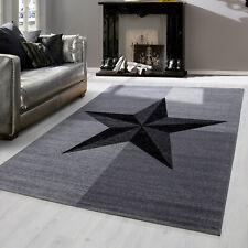 Modern designer Teppich für Wohnzimmer kariert Stern Motive Grau 8002