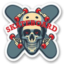 2 X 10 Cm Skateboard pegatina de vinilo Ipad Laptop Calavera Casco Chicos Niños Skate # 5495