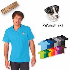 Polo Shirt Coton Brodé Broderie Jack Russel 2 + texte personnalisé