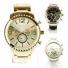 Tecno Trend Mens Luxury Stainless Steel Metal Round Analog Quartz Wrist Watch
