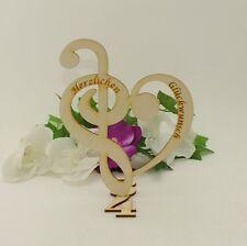 Herz, Notenschlüssel mit Bassschlüssel stehend mit Gravur Holz 17cm Geschenk