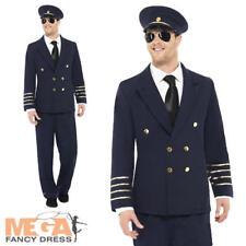 Pilote de ligne capitaine homme uniforme robe fantaisie bleu marine adulte officer costume