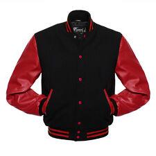 Varsity Jacket Wool Body&Leather Arms Stylish & Fashionable GREY Brand BLACK/RED