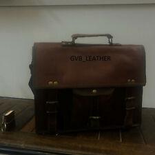 SALE Men's Real Goat Leather Vintage Messenger Shoulder Laptop Bag Briefcase