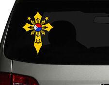 Filipino Vinyl Car Decal Sticker 7(H)  w/ Unique Cross #3 Philippine Flag