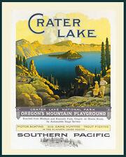 Fishing Boating Crater Lake Oregon National Park Vintage Poster Repro FREE S/H