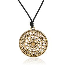 Viking Sun Runes Ancient Norse Circle Amulet Talisman Pendant Chain Necklace