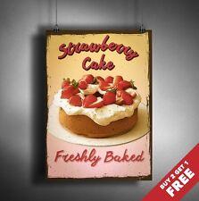 FRESHLY BAKED STRAWBERRY CAKE Retro Vintage Art Poster A3 A4 Size Kitchen Decor
