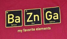 Big Bang Theory BAZINGA Adult T-Shirt Periodic Table Barium Zinc Gallium Tee