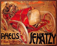 POSTER BRUSSELS BELGIUM PNEUS SENATZY CAR RACE SPORT VINTAGE REPRO FREE S/H