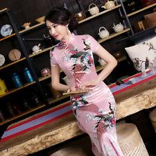 Pink,Chinese women's Style Evening silk/satin long Dress/Cheong-sam 6 -18